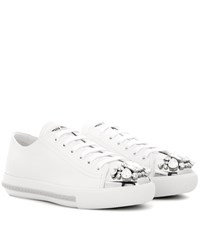 Miu Miu Crystal Embellished Leather Sneakers White