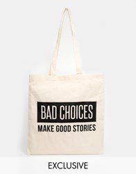Reclaimed Vintage 'Bad Choices' Tote Beige