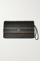 Valentino Garavani Rockstud Leather Clutch Black