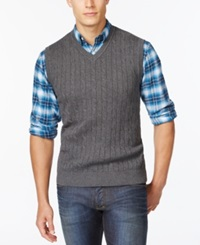 Club Room Solid Cable Sweater Vest Only At Macy's Charcoal Htr