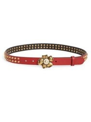 Gucci Studded Flower Buckle Belt Red