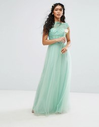 Chi Chi London Premium Lace Maxi Dress With Tulle Skirt And Cap Sleeve Green