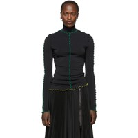 Proenza Schouler Black Stretch Crepe Jersey Turtleneck