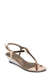 Athena Alexander Women's Luna Demi Wedge Sandal Rose Gold Faux Leather