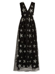 Huishan Zhang Luna Star Embellished Tulle Gown Black Silver