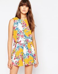 Traffic People Sass And Sunshine Playsuit In Floral Print Yellow
