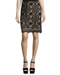 Max Studio Lace Overlay Pencil Skirt Black