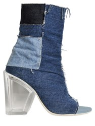Off White Patchwork Denim Open Toe Ankle Boots
