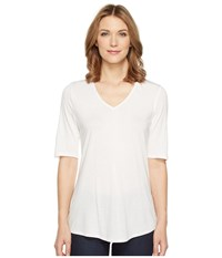 Nic Zoe Coveted 3 4 Sleeve Top Paper White Women's Clothing
