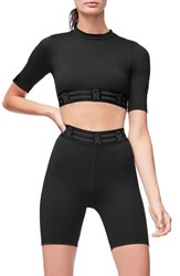 Good American Plus Size Icon Crop Top Black001