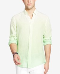 Polo Ralph Lauren Men's Long Sleeve Ombre Linen Sport Shirt Lime Green