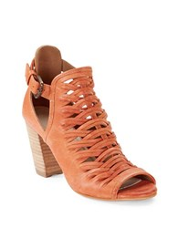 Charles By Charles David Coll Peep Toe Leather Ankle Boots Ginger