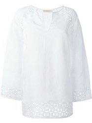 Tory Burch Embroidered Tunic Blouse White