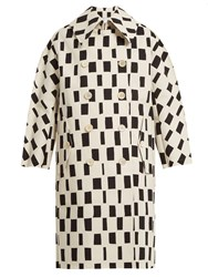 Junya Watanabe Rectangle Print Point Collar Cotton Coat White Black