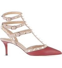 Valentino Rockstud 65 Leather Heeled Courts Red Dark