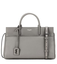 Saint Laurent Small Rive Gauche Leather Tote Grey