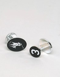 Polo Ralph Lauren Bold 3 Cufflinks In Sterling Silver Black