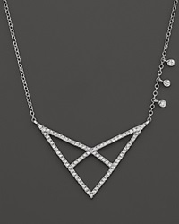 Meira T 14K White Gold Open Triangle Necklace With Diamonds 16 White Silver