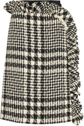 Simone Rocha Embellished Plaid Boucle Tweed And Embroidered Tulle Skirt Black