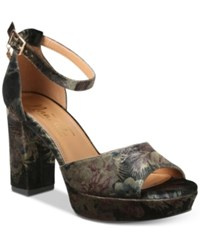 Nanette Lepore By Viola Two Piece Platform Block Heel Sandals Women's Shoes Black Floral