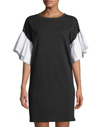 Gracia Tiered Sleeve Jersey Dress Black