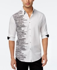 Inc International Concepts Men's Lateral Graphic Print Long Sleeve Shirt Only At Macy's White