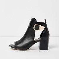 River Island Womens Black Buckle Wide Fit Shoe Boot