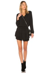 Krisa Smocked Surplice Dress Black