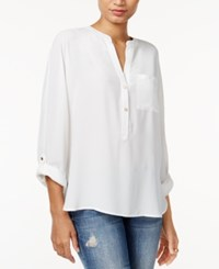 Bar Iii High Low Tab Sleeve Blouse Only At Macy's Vintage Cream