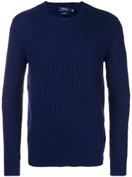 Polo Ralph Lauren Cable Knit Fitted Sweater Blue