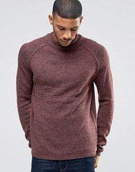 Bellfield Reverse Seam Turtle Neck Knitted Jumper Merlot Red