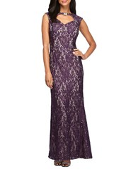 Alex Evenings Cap Sleeve Embellieshed Floral Lace A Line Gown Plum Nude