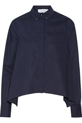 Derek Lam 10 Crosby By Layered Cotton Poplin Shirt And Camisole Midnight Blue