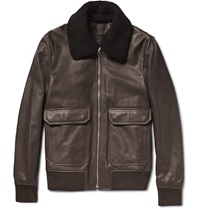 Acne Studios Abel Shearling Trimmed Leather Bomber Jacket Brown