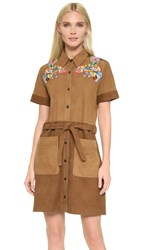 Preen Line Joise Suede Dress With Embroidery Brown