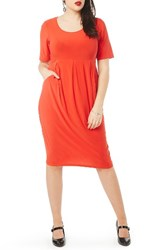 Evans Plus Size Women's Pleated Jersey Dress Red