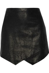 Mason By Michelle Mason Lizard Effect Leather And Cady Mini Skirt Black