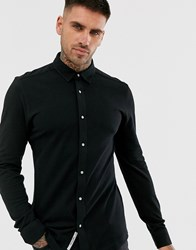 Only And Sons Slim Pique Cotton Shirt Black