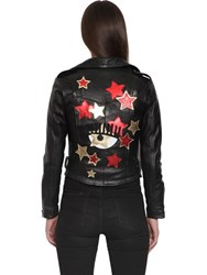 Chiara Ferragni Star Patches Smooth Leather Biker Jacket