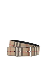 Burberry 35Mm Reversible Check Faux Leather Belt Archive Beige