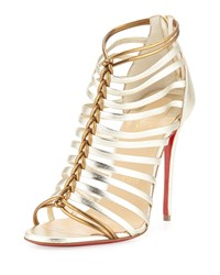 Christian Louboutin Milla Metallic Strappy Red Sole Bootie Light Gold