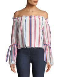 Red Carter Off The Shoulder Awning Striped Bell Sleeve Blouse White Pattern