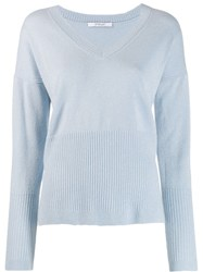Derek Lam 10 Crosby Twilight Wool Cashmere Wooster V Neck Sweater Blue