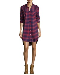 Frank And Eileen Mary Plaid Cotton Shirtdress Red Blue
