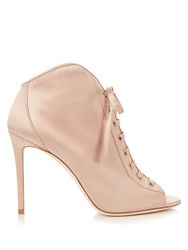 Jimmy Choo Freya 100Mm Open Toe Satin Ankle Boots Light Pink