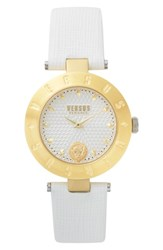 Versus By Versace Women's New Logo Leather Strap Watch 34Mm White Gold