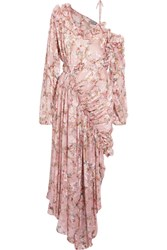 Preen By Thornton Bregazzi Erchart One Shoulder Ruffled Fil Coupe Silk Blend Dress Blush
