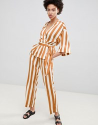 Moss Copenhagen Straight Leg Trousers In Satin Stripe Co Ord Caramel And White Brown