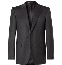 Canali Navy Super 120S Micro Checked Wool Suit Jacket Gray