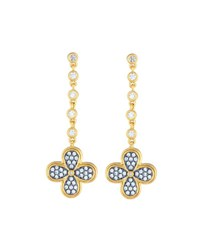 Freida Rothman Blackened Pave Clover Drop Earrings No Color